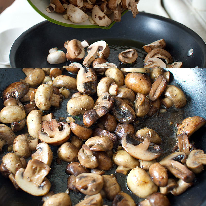 Heat a skillet until very hot. Add in olive oil, mushrooms and garlic ...